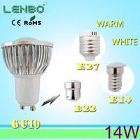 6pcs Free shipping , 14W dimmable led cob spot light GU10 B22 E27 E14 cob lamps