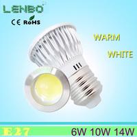 Newest LED Super bright 10pcs/lot 6w 10w LED COB Spot Light E27 White/Warm White AC85-265V