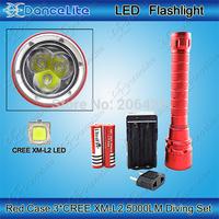 Diving Set ~ 1pc 5000M Waterproof 3xCREE XM-L2 High Power LED Diving Flashlight Torch + 2pcs 3000mAh Battery + 1pc Charger