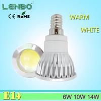 10pcs/lot 6w 10w 14w LED COB Spot Light E14 White/Warm White AC85-265V 100%quality assurance