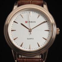 new 2014 fashion male luxury wristwatches hot curren white retro dial black genuine leather men wrist quartz watch 4169