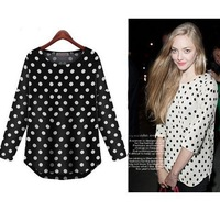European and American style New 2014 spring large size shirt women blouses shirts print chiffon polka Dot casual blouses