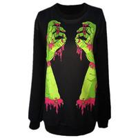 New 2015 Ladies Harajuku Style Clothes Hoodies.Zombies Green Hand Terrorist Pattern Printed Sweatshirt Woman Brand Sexy Coat