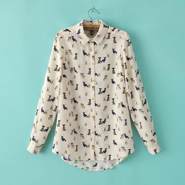 01a2359 mode 2014 frauen hund drucken beige bluse langarm t-shirt lässig slim marke designer tops