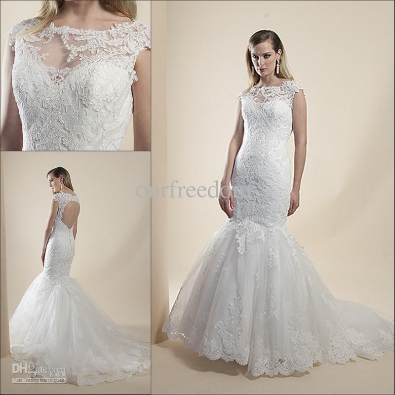 Atacado - novo estilo elegante colher sereia trem da varredura Lace branco vestidos vestidos de noiva Customed 2013(China (Mainland))