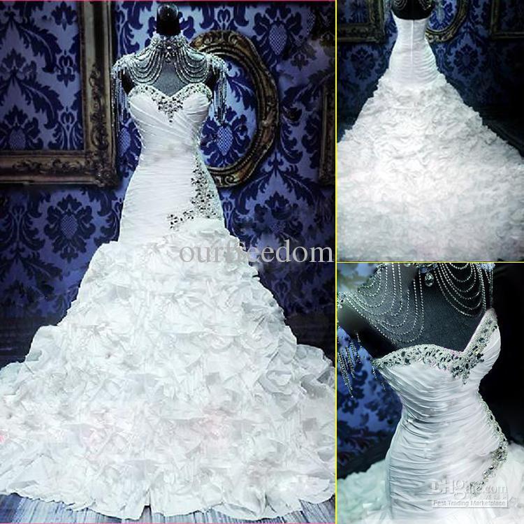 Atacado - New Custom Made elegante contas namorada brilhando Falbala sereia tribunal trem tafetá vestidos de noiva vestidos de casamento Ho(China (Mainland))