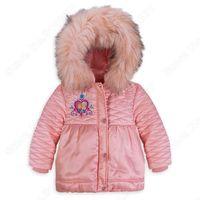 Retail 2014 Winter Fashion girls Down jacket  Frozen Anna and Elsa Deluxe Parkas Hooded jacket Empire waist   Kids Outerwear