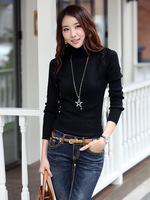 Free Shipping New Turtleneck Ruffles Cotton Knitted Pullover Plus Size Casual Slim Cardigan For Women 2014 Autumn Winter 1899