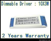 2pcs/Lot Dimmable 30W 10 X 3W led driver lamp Transformer AC 220V Drivers AC 180V - 265V LED Ceiling Lamp down light