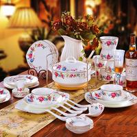 56 pieces of 1 set  fashion square bone china dinnerware set bowl plate ceramics high quality