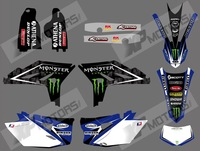 0504  MONSTER   NEW STYLE TEAM GRAPHICS BACKGROUNDS DECALS FOR YAMAHA WR450F WRF450 2012 2013 2014 (BLACK&BULE)