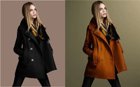 2014 New Fashion Autumn Winter Women Coats Slim Wool Cloth Coat double-Breasted Coat Turn-Down Collar Female Blends Outwear A048