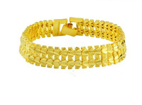 Wholese--12pcs New  Fashion 24k Gold Plated Mens Adjustable Length Jewelry Bracelet Gold Golden Bracelet Bangle.Free shipping!!