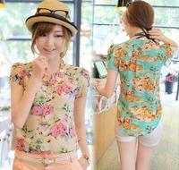 Hot Sale blouse new Cool Summer puff sleeve flowers print Chiffon shirt, short sleeve blouse women summer 2014 KL1004
