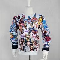 2014New men Women's 1991inc lebron James/kobe/michaeljackson/McGrady star 3D print Pullover galaxy Sweatshirts Hoodies crop Tops