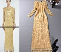 Europe Style Long Dress Long Sleeve O-neck Slim Maxi Long Party Dress Tassel Elgent Dres S-L Free Shipping