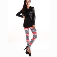 Free shipping! Brushed combed cotton high elastic big yards horizontal stripes pentagram leggings wholesale and retail