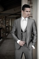 Custom made 2014 Designer grey Groom Tuxedos Wedding Groomsman Suit Groomsman Bridegroom Suits (Jacket+Pants+Tie+Vest)