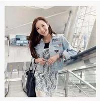 2014 Autumn New Korean Jacket  Women Dongdaemun Hole Labeling Personalized Badge Cowboy Denim  Jacket Harajuku Shipping