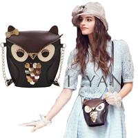 Owl shoulder bags women messenger bags vintage color block patchwork fashion women leather handbag cartoon bag Free Shipping