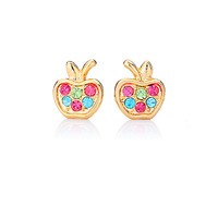 New Arrival 18K Real Gold Plated Cute Apple Studs Earrings Basketball Wives Earrings Fashion Jewelry For Women Wholesale E286
