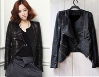 Fall 2014 new Korean Women Short Slim leather jacket motorcycle clothing PU leather jacket suit