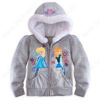 Wholesale New 2014 Frozen Girl  Hooded jacket  Anna  Elsa Deluxe Full zip Coat  Side pockets Kids Outerwear1lot/5pcs C018