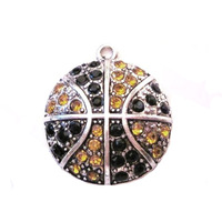 antique silver plated studded with sparkling Basketball Yellow Gold and Black crystal sports Pendant,free shipping 60pcs a lot