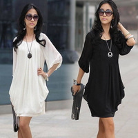 Summer Dress 2014 New Fashion Womens Chiffon Casual Loose Mini Dress Ladies Casual Party Dresses vestidos Plus Size M-XXXXL