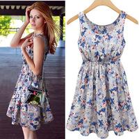2014 Summer Woman Causal  Chiffon Dress Blue Flower Print Fashion Skirt Sexy V-neck  Dress Free shipping