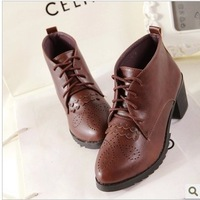 The new 2014 Japanese women boots Martin boots brown fashion casual shoes Locomotive ankle boots Free shipping