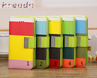 """for iPhone 6 leather wallet case,kld rainbow stripe Flip Leather wallet with Card case for iPhone 6 6S 4.7 """" DHL Free 200pcs"""