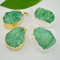 6pcs Nature Quartz Druzy stone Pendant in green color,  Silver / Gold plated Crystal Drusy Gem stone Necklace Pendant Charms