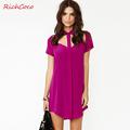 ON SALE! Richcoco street fashion vintage casual shirt chest cutout collar short-sleeve chiffon one-piece dress d164