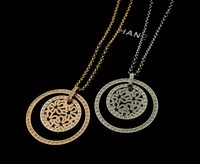 Guaranteed 100% 316L Titanium Steel circle with full rhinestone pendant & necklace N329