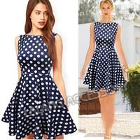 2014 Casual Elegant Dresses Women Sleeveless Party Vintage Prom Polka Dot Printed Dresses Dark Blue Plus Size S/M/L/XL ay851551