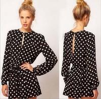 2014 new fashion women black polka dot long sleeve open back casual mini plus size free shipping