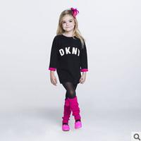 2014 new autunm girls long dress kids wool dress girls fashion letter clothes big brand