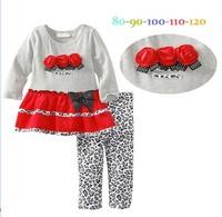 Fall Baby Girl Clothing Set Rose Flower Leopard Wave Point Dress + Leggings 2pcs Kids Suit Toddler Set  Children Clothes GX826