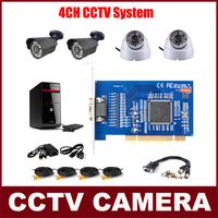 CCTV System CCTV Camera Kit 4 CMOS 700TVL Cameras + 8CH Video Card Installed on PC Security System