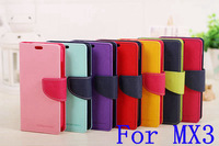 2014 Newest!! Mercury Series Color Button Case For Meizu MX3 PU Leather Wallet Stand Function Cover GA004
