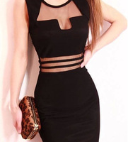 New 2014 Summer Dress Fashion Sexy Women Nightclub Dresses Slim Openwork Mesh Of Women Round Neck Sleeveless Low-cut Dress