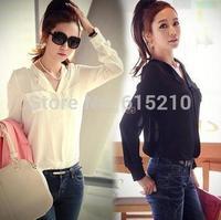 Drop shipping 2014 New summer Women clothing Casual Chiffon Blouse Women Long Sleeve Tops Shirts White Black KL1010