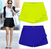 3 Colors 2014 women casual shorts New Fashion summer chiffon Irregular Solid Pleated short skirt Overlap culotte Pants