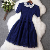 Ladies Fashion Black/Blue/Purple Wool Blend Lace Polo Collar Ball Dress,Women 2014 Autumn New Brand Casual Dresses European