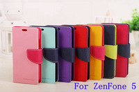 2014 Newest!! Mercury Series Color Button Case for Asus Zenfone 5 PU Leather Wallet Stand Function Cover GA004