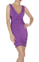 New fashion 2014 DEEP V broken lace patchwork solid backless mini lady sexy prom cocktail club-wear bandage dress HL283
