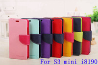 Mercury Series Case For Samsung Galaxy S3 S 3 III MINI I8190 s3mini Case PU Leather Wallet Stand Function Cover GA004
