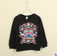 2014 autunm boy fashion face tshirt kids personality cotton long sleeve cartoon tshirt
