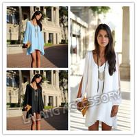 Hot Selling Women A-line Sexy Off Shoulder Chiffon Dresses 2014 New Celebrity Mini Dresses Plus Size S/M/L/XL 655599